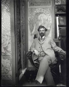 Alphonse Mucha shown with posters for Sarah Bernhardt in his studio c1901