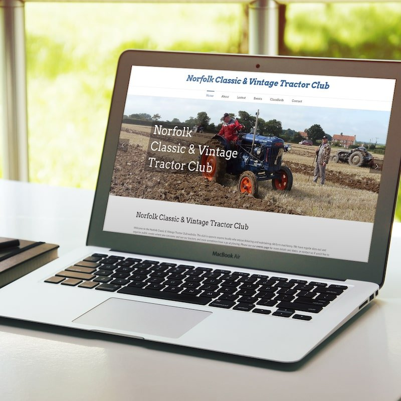 Wordpress website design for Norfolk Classic & Vintage Tractor Club