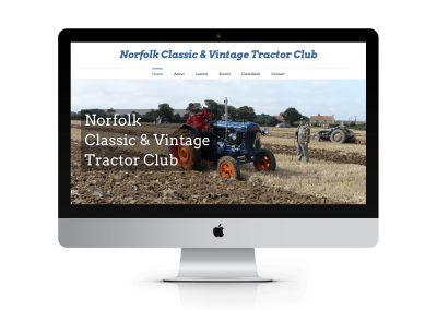 Web design for Norfolk Classic and Vintage Tractor Club