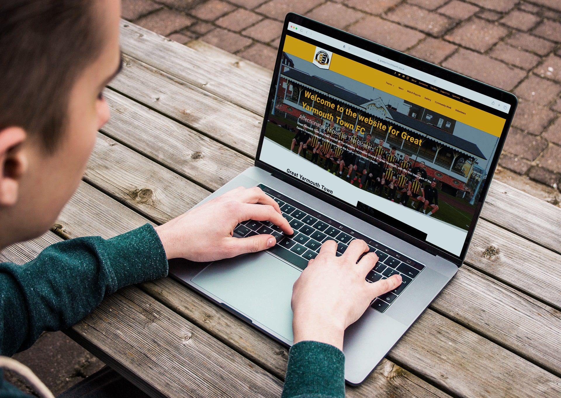 Great Yarmouth Town Football Club website laptop view