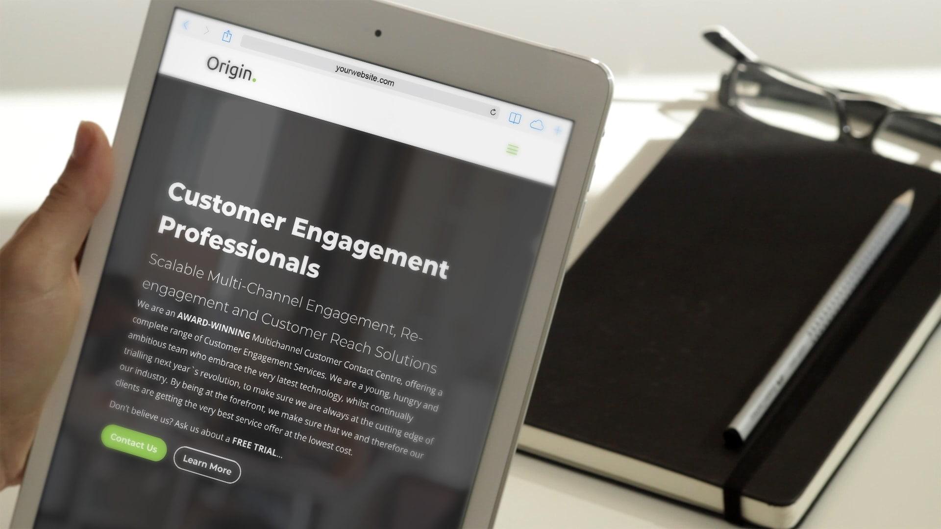 Origin website tablet view